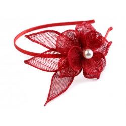 Fascinátor/čelenka Červený květ