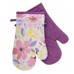Kuchyňské bavlněné rukavice - chňapky JOYFUL fialová, 100% bavlna 19x30 cm