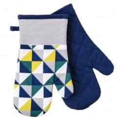 Kuchyňské bavlněné rukavice - chňapky SCOPE modrá/žlutá