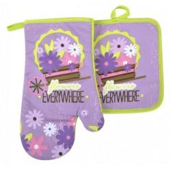 Kuchyňský set rukavice/chňapka FLOWERS fialová