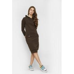 Šaty s kapucí Mandy Hnědá - vel. XL