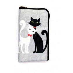 Obal na mobil Kočky - Černá & Bílá