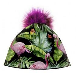 Zimní čepice dámská - Růžový plameňák