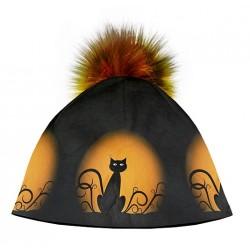Zimní čepice dámská - Kočka na měsíci