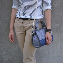 Eco kabelka plstěná FELT LABEL Mini Úžasná Modrá