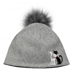 Zimní čepice dámská - Černá & Bílá kočka