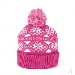 Zimní čepice dámská - Pletená s bambulí - Růžová