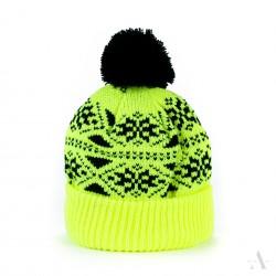 Zimní čepice dámská - Pletená s bambulí - Žlutá
