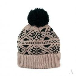 Zimní čepice dámská - Pletená s bambulí - Hnědá