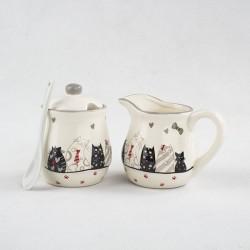 Keramický mléčník a cukřenka Kočky