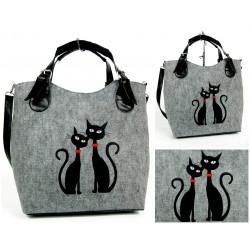 Eco kabelka Design Kočky s červeným obojkem Velká kabelka