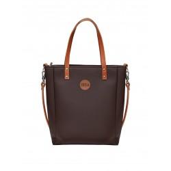 Malá kabelka MANA MANA Minimalistická Čokoládová/Karamelová kůže