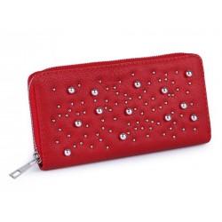Dámská peněženka s kovovými perlami Červená